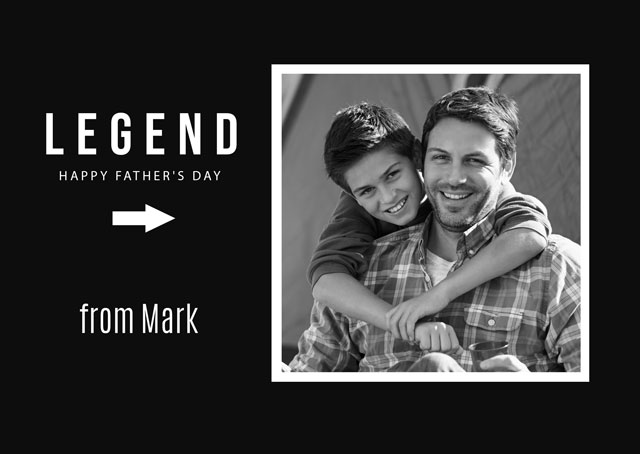 Create a Real Photo Photo Father's Day Card Legend Dad Card