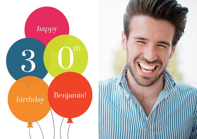 Create a Real Photo Age Balloon 30 Card