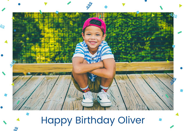 Create a personalised photo card Photo Card Birthday Confetti Border
