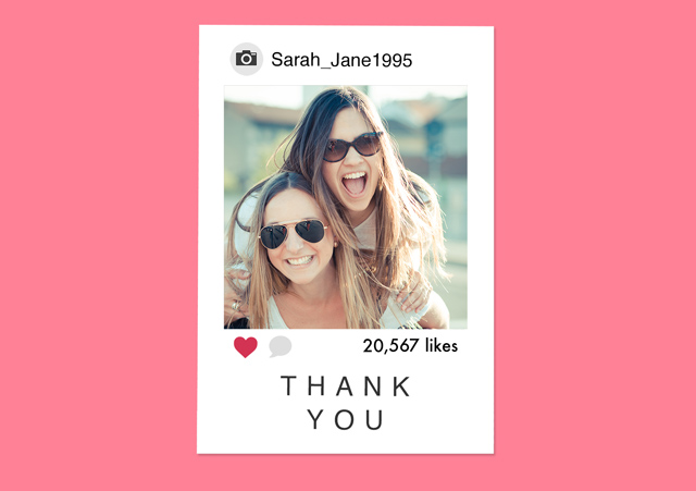 Create a Real Photo Photo Thank You Card Instagram Card