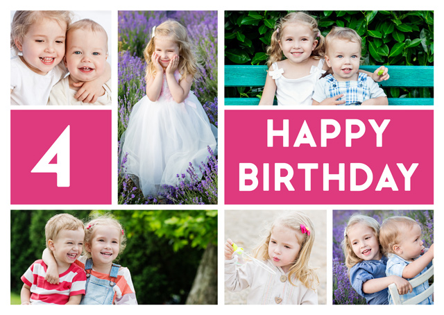 Create a personalised photo card 6 Photo Collage Milestone