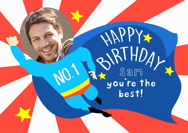 Create a Real Photo Super Man Happy Birthday  Card
