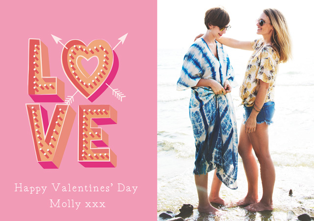 Create a Real Photo Photo Card Valentines Pink Love Card