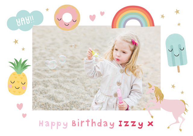 Create a Real Photo Photo Card Birthday Unicorn Illustrated Border Card