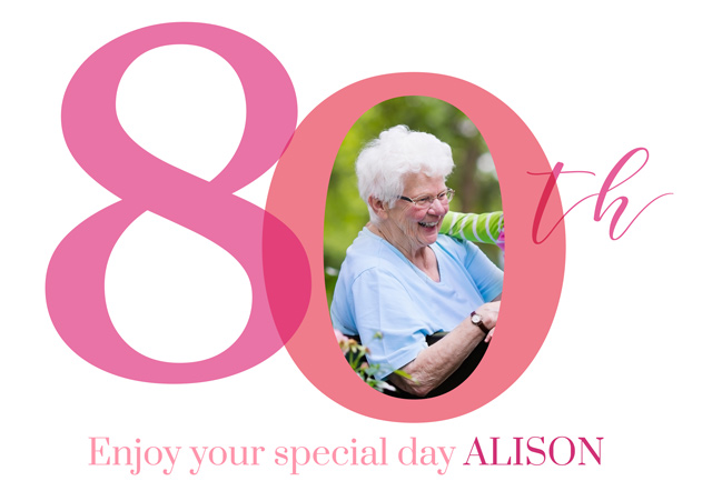 Create a personalised photo card Photo Birthday Card 80 Milestone