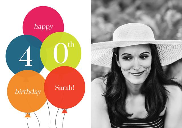 Create a Real Photo Age Balloon 40 Card