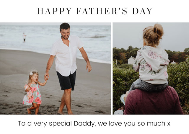 Create a Real Photo Photo Father's Day Card Collage 2 Photos Card