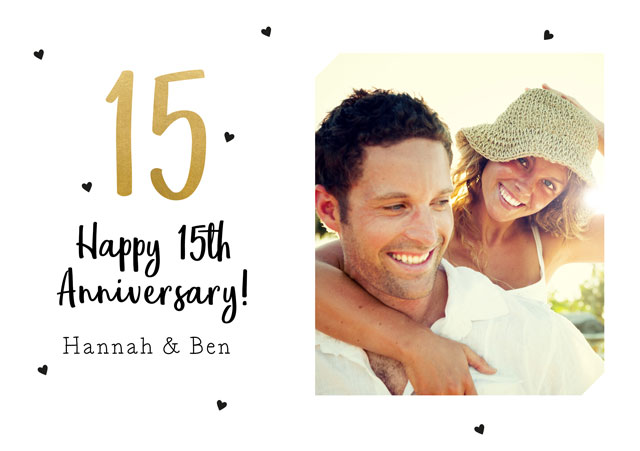 Create a Real Photo 15th Anniversary  Card