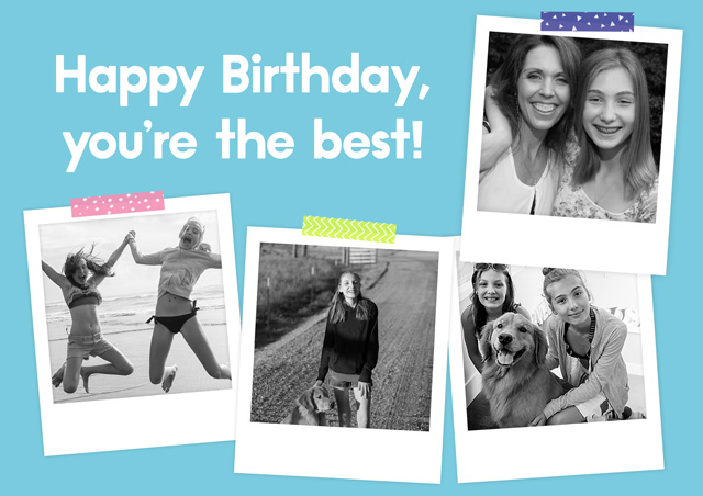 Create a personalised photo card Photo Card Birthday Polaroids