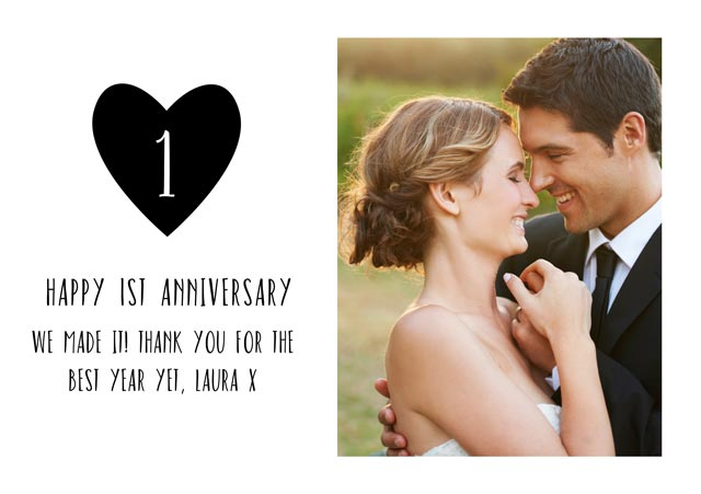 Create a Real Photo 1 St Wedding Anniversary Card