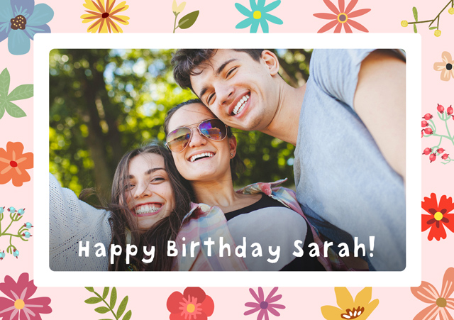 Create a Real Photo Photo Birthday Card Floral Border Card