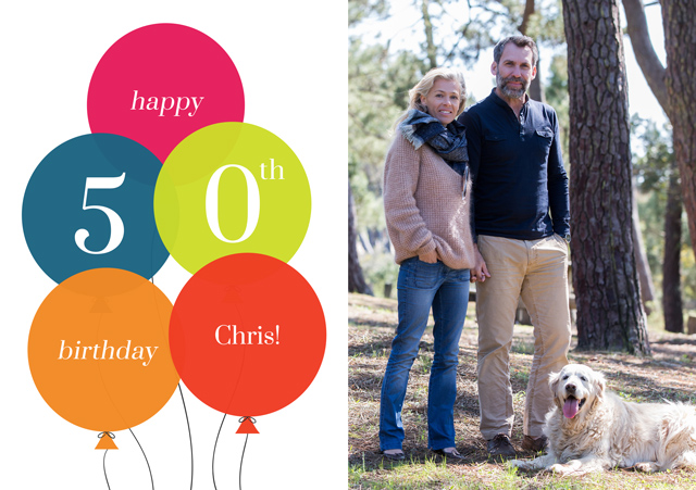 Create a Real Photo Age Balloon 50 Card