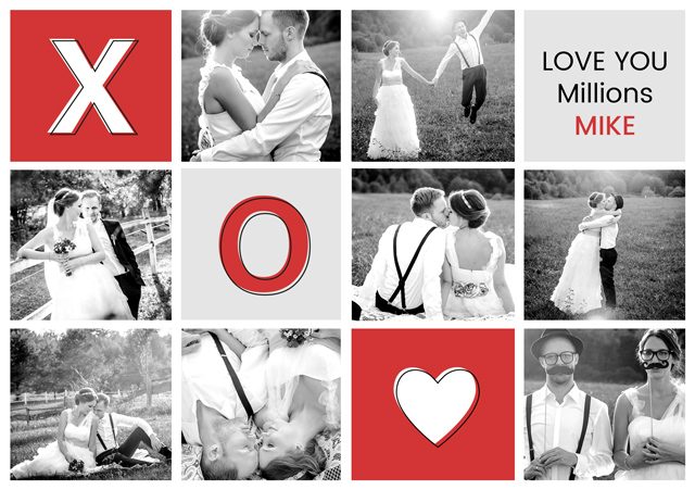 Create a Real Photo Photo Card Love X O Heart Card