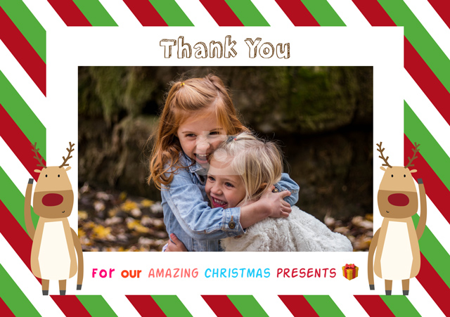 Create a Real Photo Photo Thank You Card Reindeers Card
