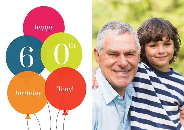 Create a Real Photo Age Balloon 60 Card