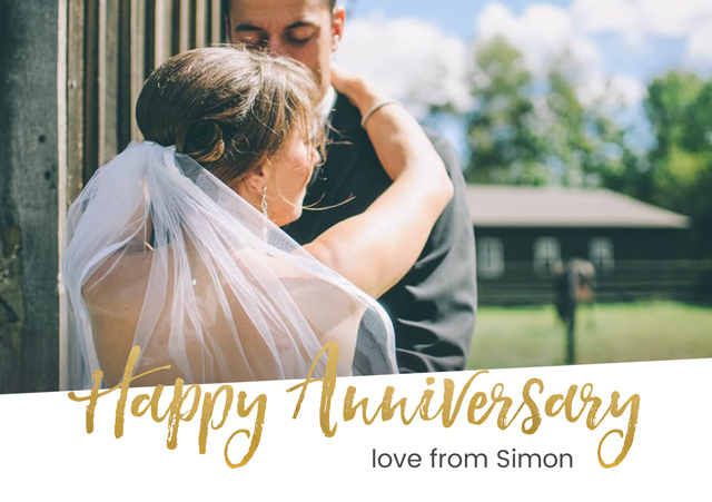 Create a personalised photo card Gold Anniversary