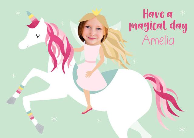 Create a Real Photo Unicorn & Princess  Card