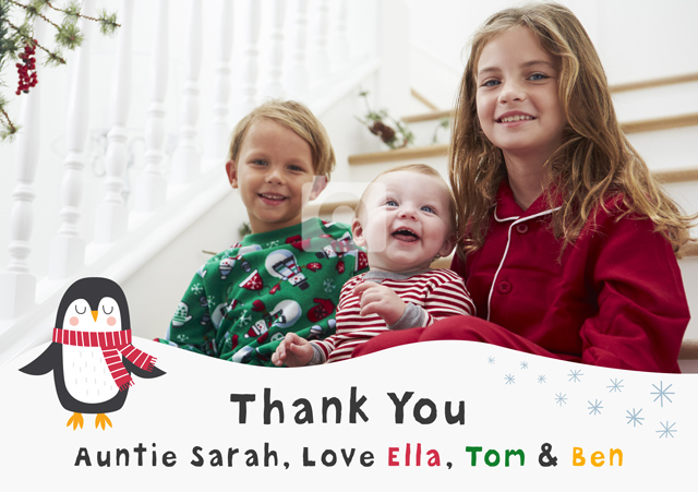 Create a Real Photo Photo Thank You Card Penguin Card