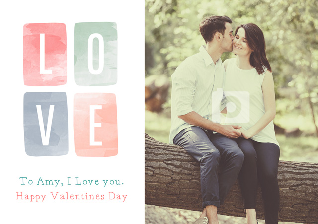 Create a Real Photo Photo Card Valentines Watercolour Love Card