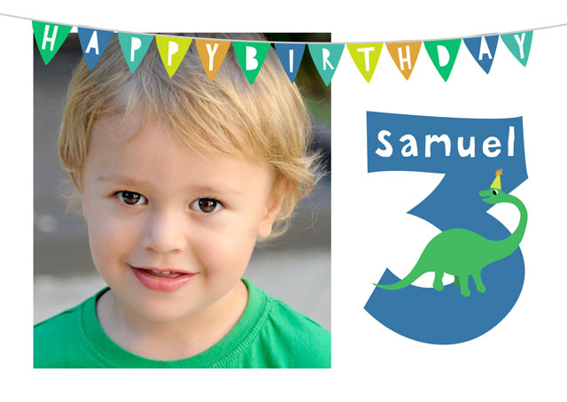 Create a personalised photo card Photo Birthday Card 3 Dinosaur