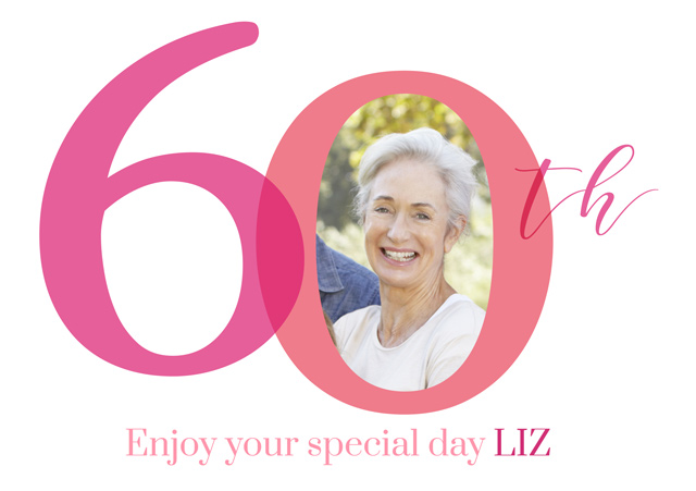 Create a personalised photo card Photo Birthday Card 60 Milestone