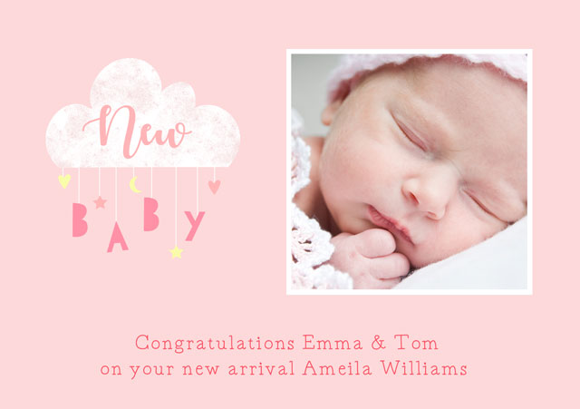Create a Real Photo New Baby Clouds Mobile Pink Card