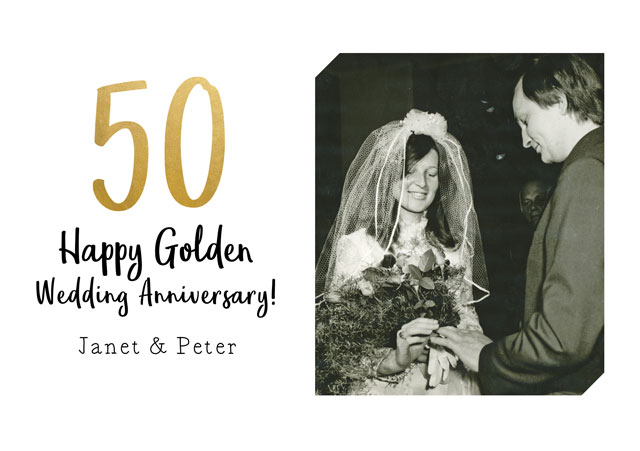 Create a Real Photo Anniversary Gold Card