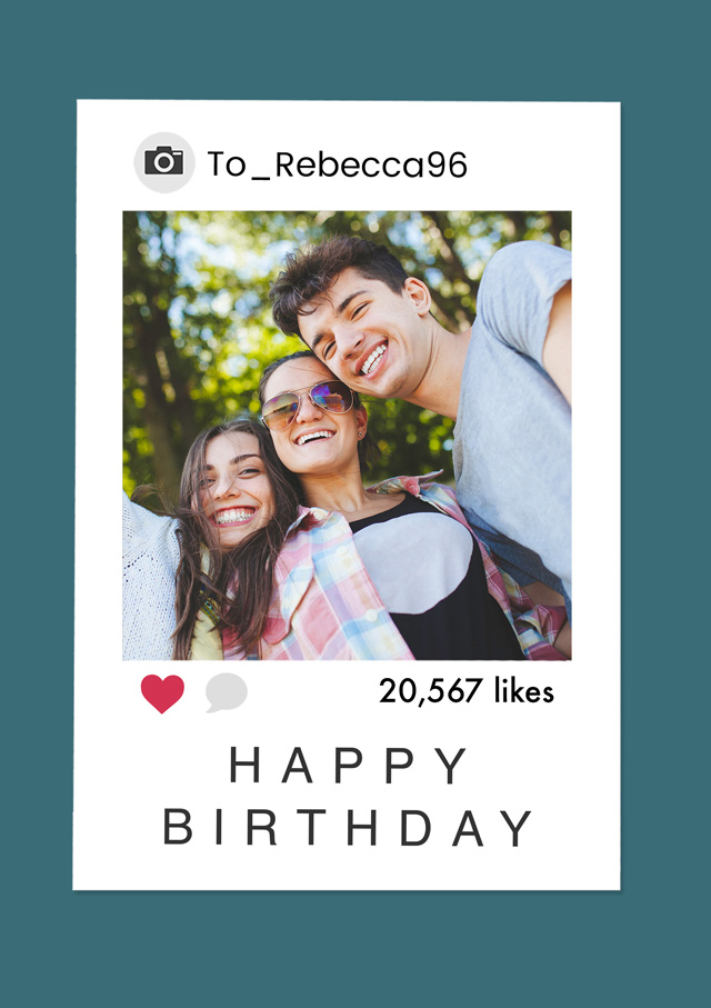 Create a Real Photo Photo Card Birthday Instagram Polaroid Card