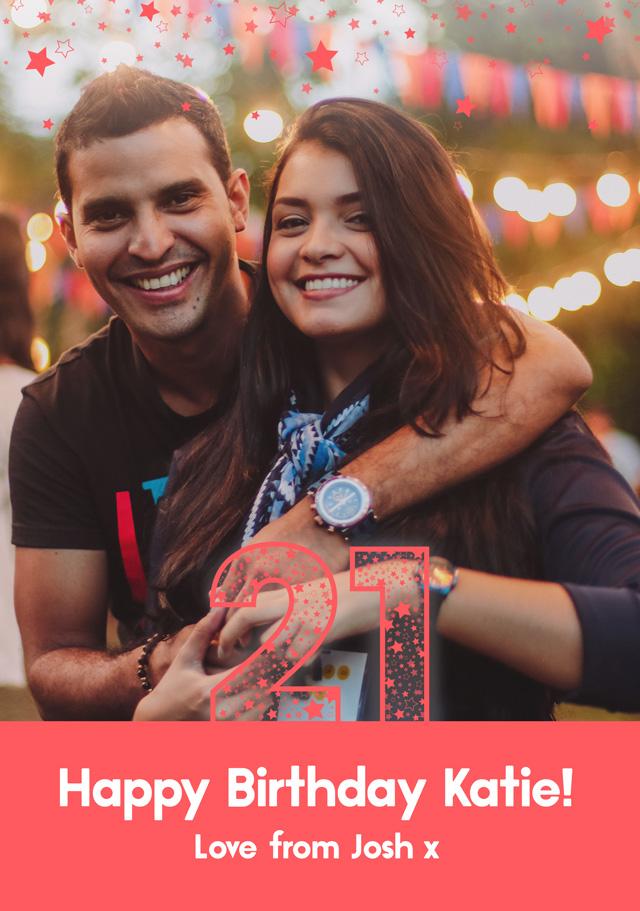 Create a Real Photo 21 Birthday Stars Card