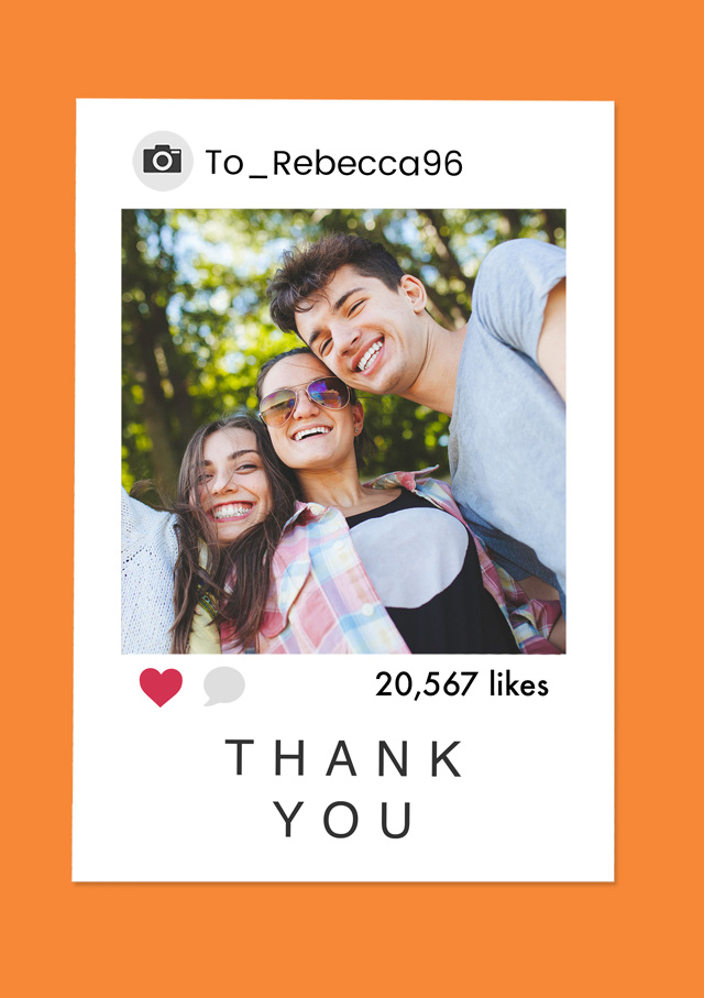 Create a personalised photo card Photo Thank You Card Insta