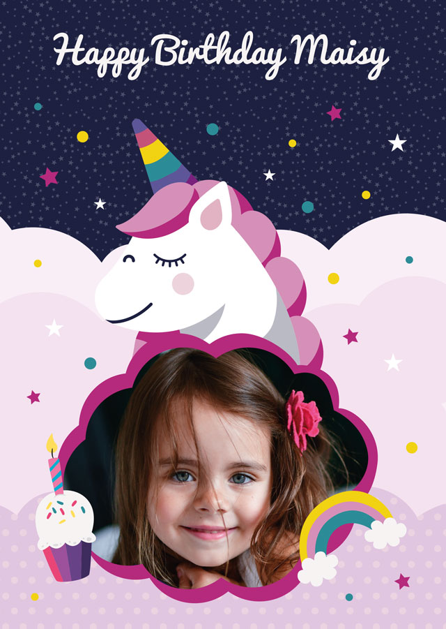 Create a personalised photo card Birthday Unicorn