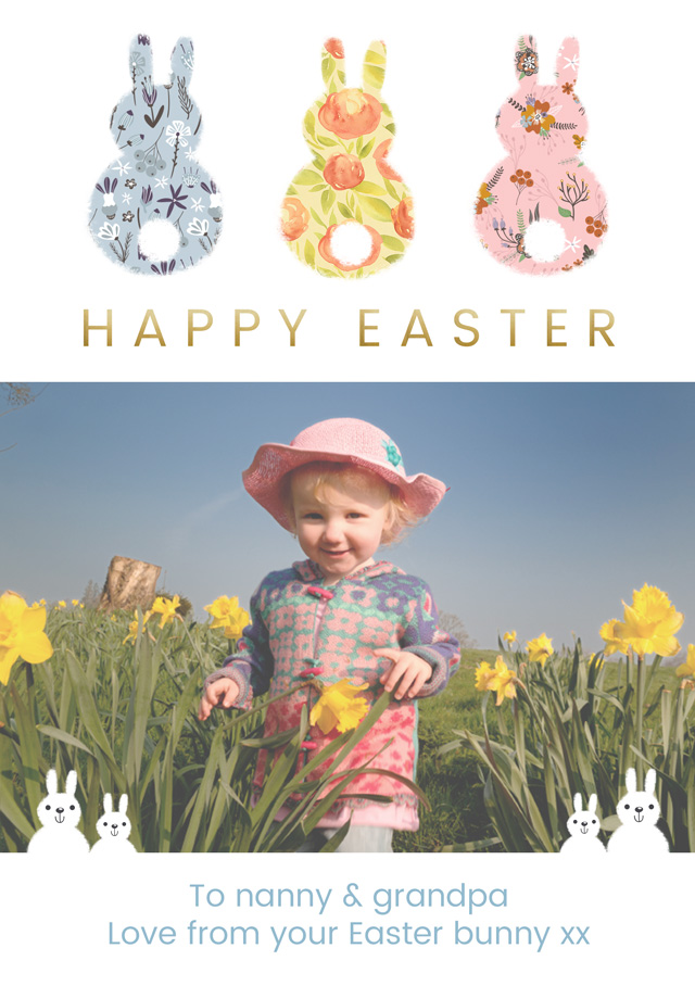 Create a Real Photo 3 X Back Photo Easter Card Easter Bunnies Card