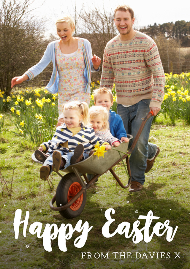 Create a Real Photo Photo Easter Card Overlayed Text Portrait Card
