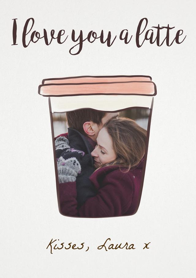 Create a Real Photo I Love You A Latte Card