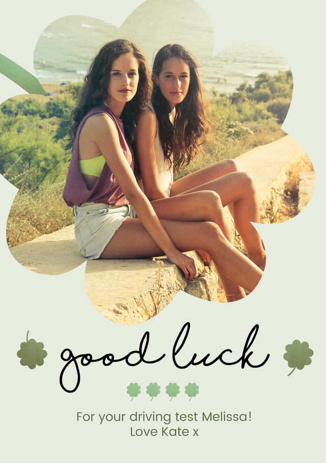 Create a personalised photo card Good Luck Cutout Clover