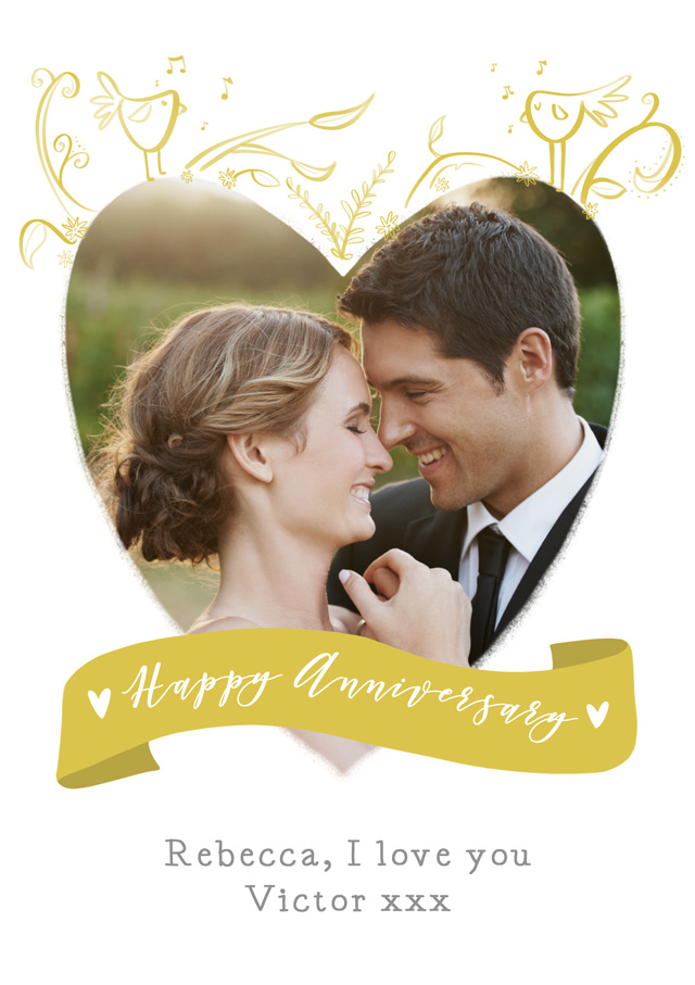 Create a Real Photo Anniversary Birds Heart Card