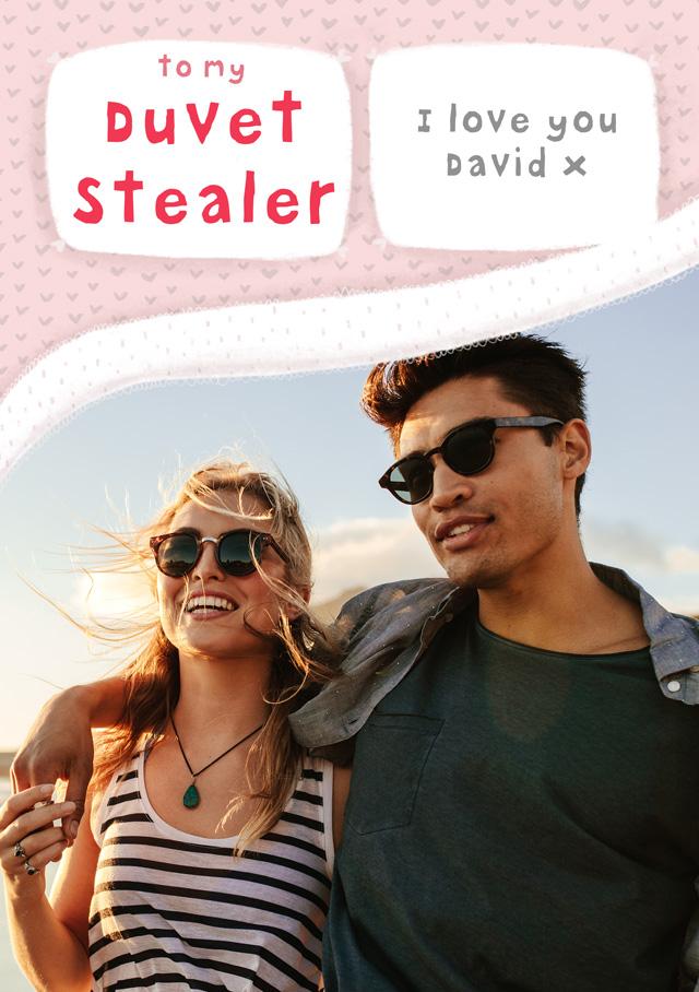 Create a Real Photo Duvet Stealer  Card