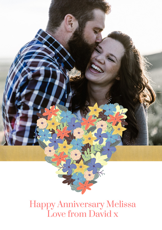 Create a Real Photo Flower Heart Ribbon Card