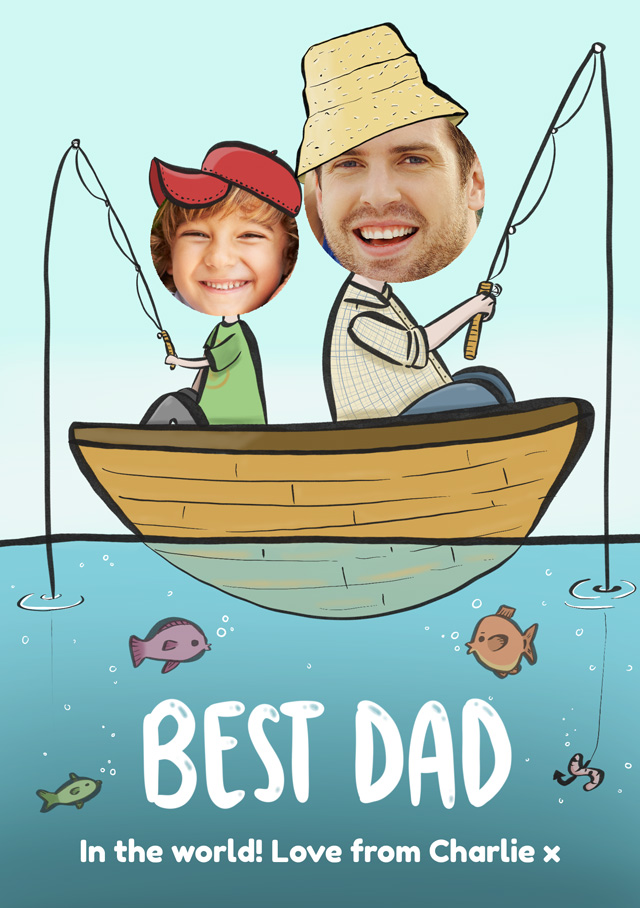 Create a Real Photo Photo Father's Day Card Best Dad Fishing Card