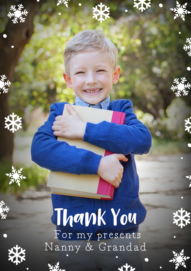 Create a Real Photo Photo Thank You Card Snowflakes Card