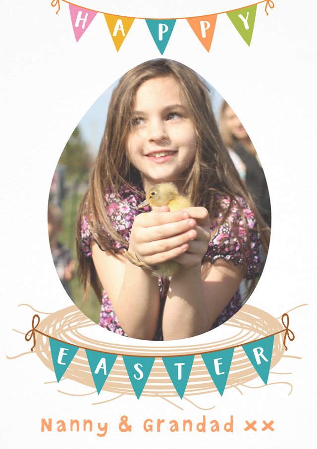 Create a Real Photo Photo Easter Card Bunting Card