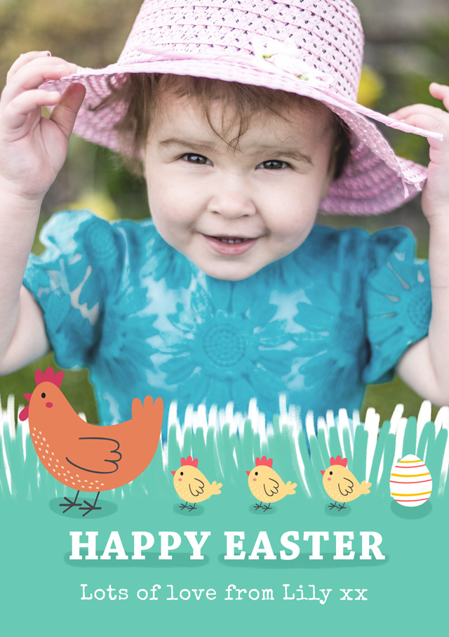 Create a Real Photo Photo Easter Card Chicks Card