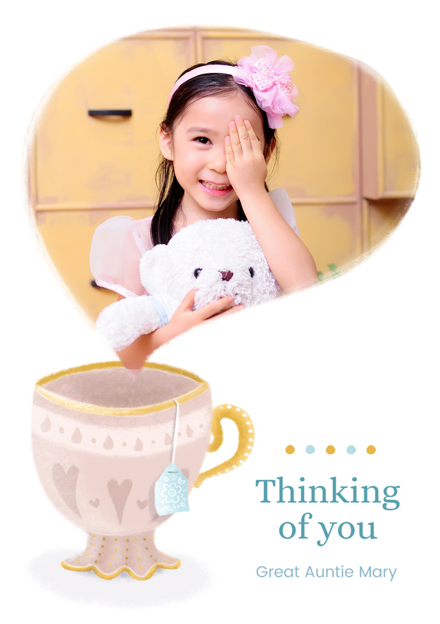 Create a personalised photo card Photo Thinking Of You Card Tea Cup