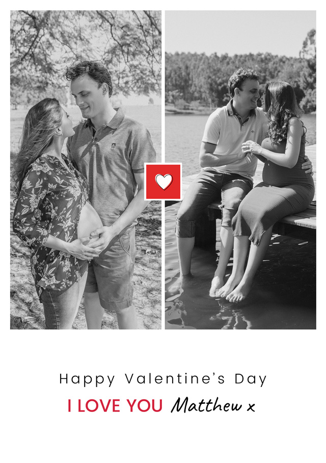 Create a Real Photo Photo Card Valentines Mini Heart Portrait Card