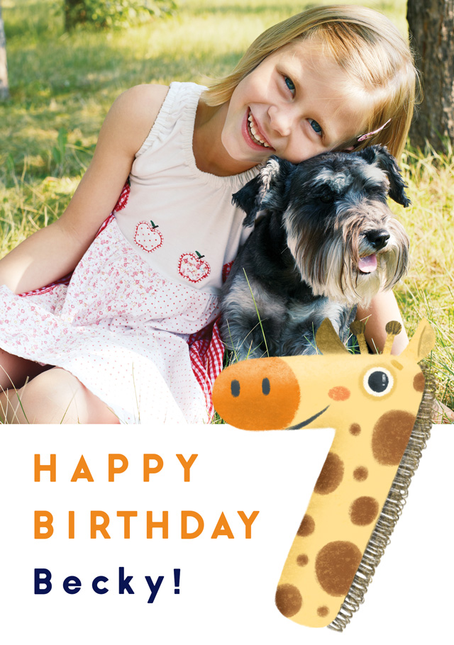 Create a Real Photo Photo Birthday Card Milestone 7 Giraffe Card