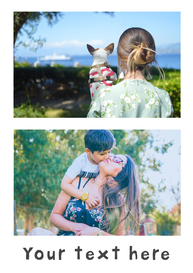 Create a personalised photo card 2 Photos Border