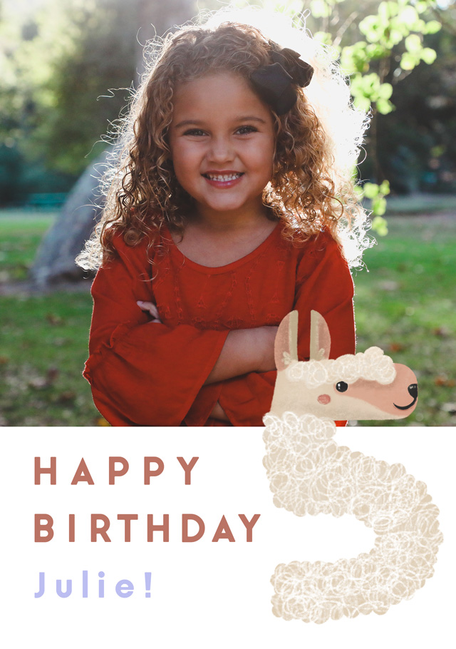 Create a Real Photo Photo Birthday Card Milestone 5 Llama Card