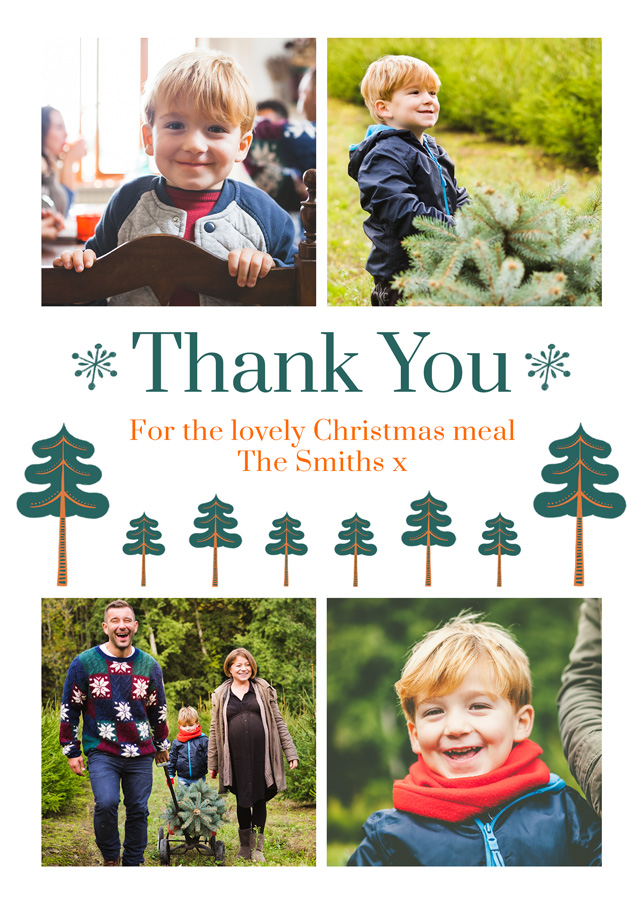 Create a Real Photo Photo Thank You Card Xmas Trees Card