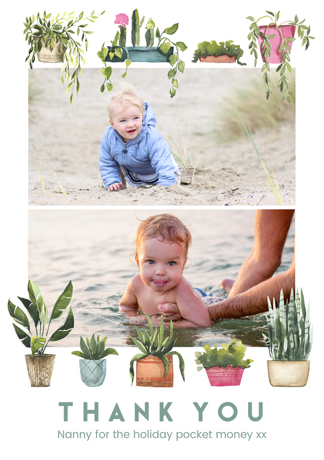 Create a personalised photo card Photo Thank You Card Collage Plant Pots