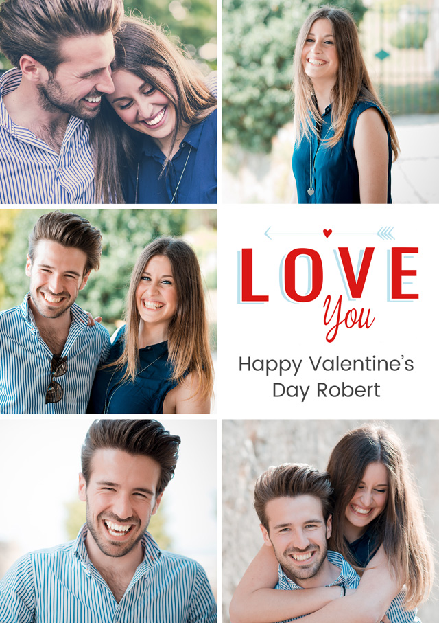 Create a Real Photo Photo Card Valentines Love You Portrait Card